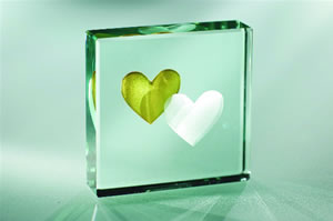 2 Hearts, gold - Medium Paperweight
